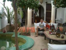 Mark and Tom in courtyard by plunge pool
