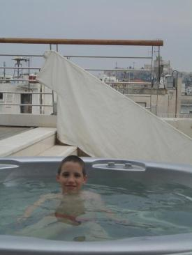 Tom in the roof-top spa