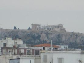 View of Parthenon on Acropolis from roof pool area
