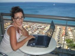 Typing from our hotel balcony