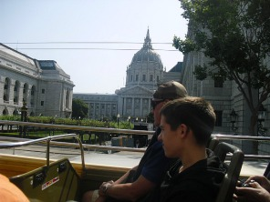 Tom on bus tour: City Hall.