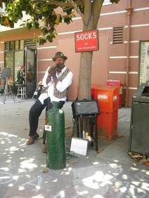 'Socks of SF' busking at cable car terminus