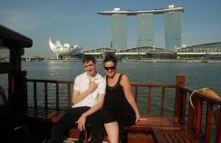 Raffles cruise and Marina Bay Sands Hotel.