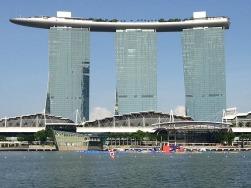 Set of cricket stumps OR Marina Bay Sands Hotel?
