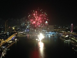 View of fireworks from Level 33 Restaurant.