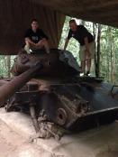 Boys on a US tank.