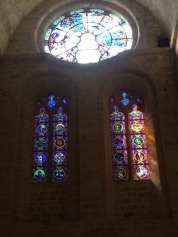 Beautiful glass windows added by Gustave Fayet.