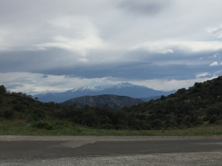 Snow capped Pyrenees in the distance.