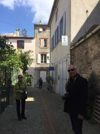 Mark and Judy in village of Montolieu.