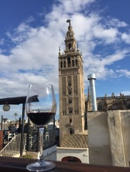 My wine and the Seville Cathedral.