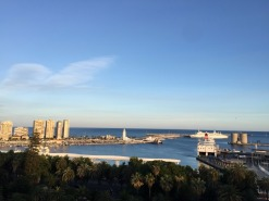 Sunset over the Port of Malaga.