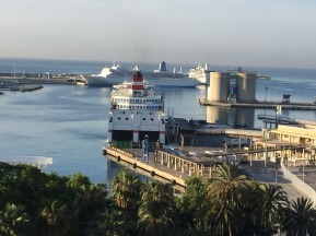 Three ships in port this morning.