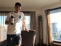 Post-bike ride celebratory beer