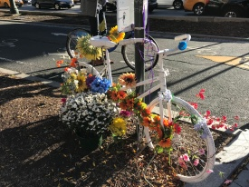 White bike: the bikes of those who didn't return after 9/11 are painted white & left as symbols around the city