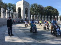 A parade of Veterans around the Memorials today. This is the WW2 Memorial
