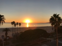 Sunset over Santa Monica from roof top bar