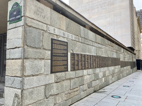 Holocaust Wall of remembrance in Marais